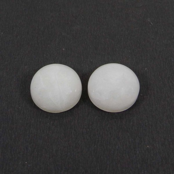 1 Pair Indian White Agate 14mm Round Cabochon 19.50 Cts