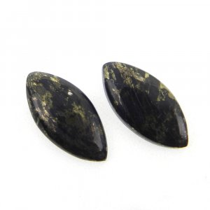 1 Pair Marcasite Pyrite 12x8mm Marquise Cabochon 7.35 Cts