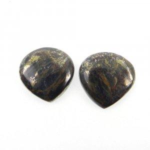 1 Pair Marcasite Pyrite 16x16mm Heart Shape 20.0 Cts