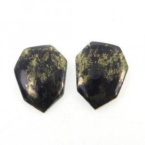 1 Pair Marcasite Pyrite 18x14mm Shield Shape 15.25 Cts