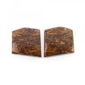 1 Pair Mariam Jasper 15x14mm Fancy Shape 18.60 Cts