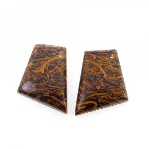 1 Pair Mariam Jasper 17x13mm Fancy Shape 13.40 Cts