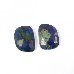 1 Pair Natural Azurite 16x12mm Fancy Rose Cut 14.95 Cts