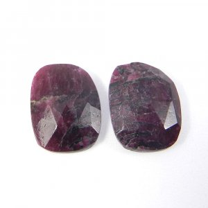 1 Pair Natural Eudialyte 16x12mm Fancy Rose Cut 13.95 Cts