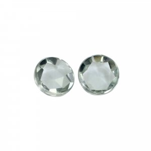1 Pair Natural Green Amethyst 10mm Round Rose Cut 6.80 Cts