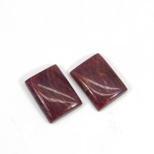 1 Pair Natural Indian Ruby Gemstone 16x12mm Rectangle Cabochon 10.70 Cts