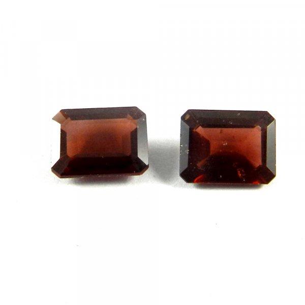 1 Pair Natural Red Garnet 9x7mm Rectangle Cut 4.8 Cts
