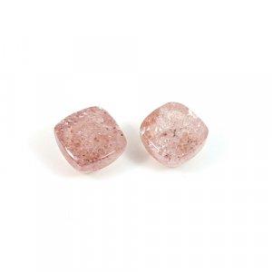 1 Pair Natural Strawberry Quartz Gemstone Cushion Cabochon 7mm 3.85 Cts