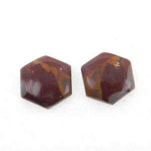 1 Pair Noreena Jasper 13x13mm Hexagon Shape 10.40 Cts