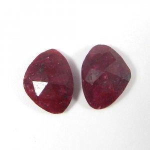1 Pair Ruby Corundum 15x11mm Fancy Rose Cut 15.90 Cts