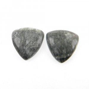 1 Pair Seraphinite 13x13mm Trillion Cabochon 10.65 Cts