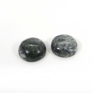 1 Pair Seraphinite 14mm Round Cabochon 16.20 Cts