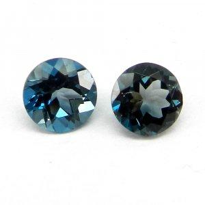 1.6 Cts London Blue Topaz Gemstone Round Cut 7mm IG4143