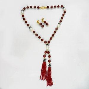 2 Pcs Beautiful Beaded Designer Necklace Earring Set
