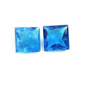 2 Pcs Blue Quartz 10x10mm Square Cut 7.40 Cts