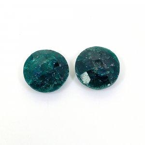 2 Pcs Emerald Corundum 13mm Round Briolette Cut 18.70Cts