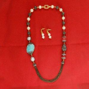 2 Pcs Handcrafted Turquoise Gemstone Designer Necklace Earring Set