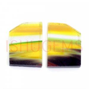 2 Pcs Maxican Glass 19x14mm Fancy Flat 15.90 Cts