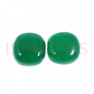 2 Pcs Natural Green Onyx 14x14mm Cushion Cabochon 20.30 Cts
