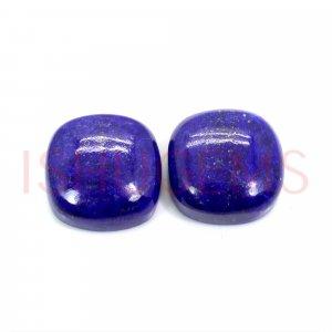 2 Pcs Natural Lapis Lazuli 14x14mm Cushion Cabochon 25.20 Cts