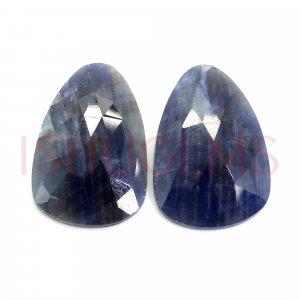 2 Pcs Natural Multi Sapphire 24x16mm Pear Rose Cut 33.85 Cts