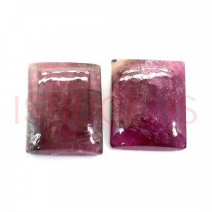 2 Pcs Natural Pink Tourmaline 11x9mm  Rectangle Cabochon 9.70 Cts