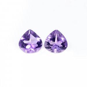2 Pcs Natural Purple Amethyst 9x9mm Heart Cut 4.15 Cts