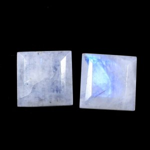 2 Pcs Natural Rainbow Moonstone 10x10mm Square Cut 7.90 Cts