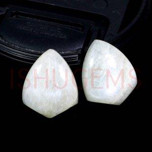 2 Pcs Natural Rainbow Moonstone 18x14mm Shield Cabochon 22.85 Cts