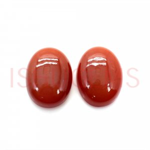 2 Pcs Natural Red Onyx 16x12mm Oval Cabochon 15.70 Cts
