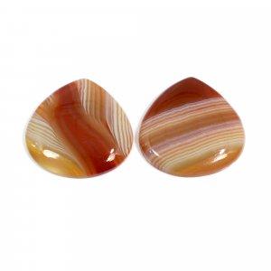 2 Pcs Natural Sard Red Onyx 23x23mm Heart Cabochon 35.00 Cts