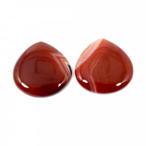 2 Pcs Natural Sard Red Onyx 23x23mm Heart Cabochon 36.25 Cts