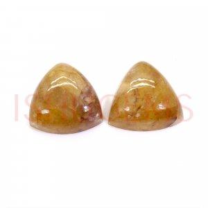 2 Pcs Natural Yellow Aventurine 14x14mm Trillion Cabochon 17.80 Cts