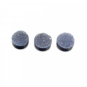 3 Pcs Natural Black Druzy 6mm Round Cabochon 3.25 Cts