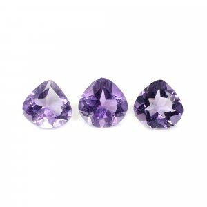 3 Pcs Natural Purple Amethyst 8x8mm Heart Cut 4.40 Cts