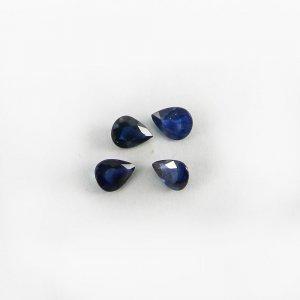 4 Pcs Blue Sapphire 5x4mm Pear Cut 1.40 Cts