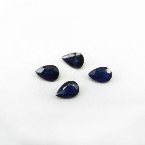 4 Pcs Blue Sapphire 6x4mm Pear Cut 1.85 Cts