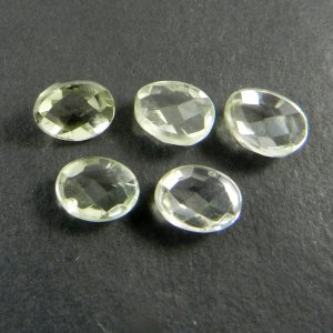5 Pcs Green Amethyst 9x7mm Egg Checker Cut Cab 9.05 Cts