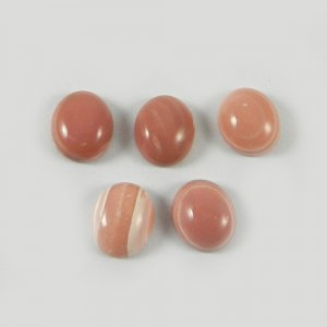 5 Pcs Natural Coated Pink Opal 12x10mm Oval Cabochon 18.05 Cts Loose Gemstone Wholesale Lot