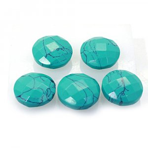 5 Pcs Synthetic Green Turquoise 12mm Round Briolette Cut 22.75Cts