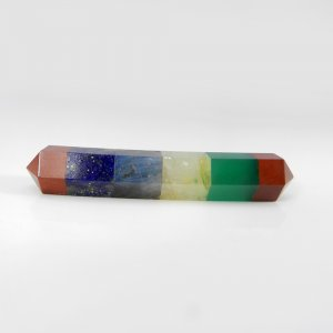 5 Stone Chakra Bonded Pencil 61x10mm Pendulum 63 Cts