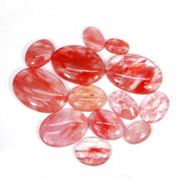 50 Grams Cherry Crackle Glass Mix Shape Cabochon Wholesale Lot