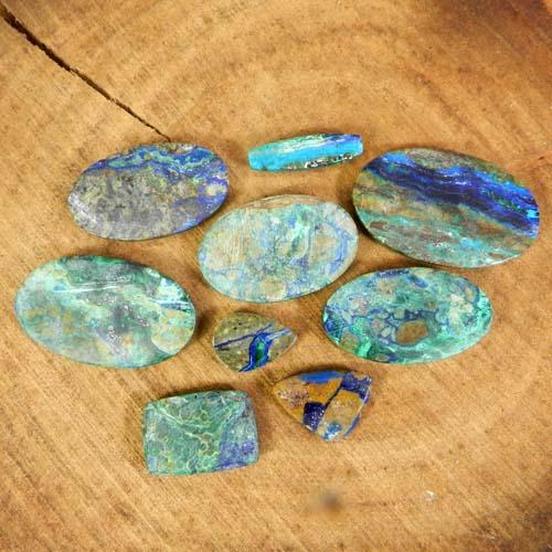9 Pcs Azurite Malachite Mix Shape Cabochon 50 Gram Wholesale Lot