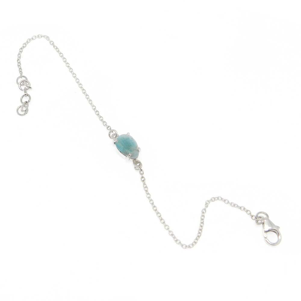 925 Sterling Silver Amazonite Pear Gemstone Chain Bracelet