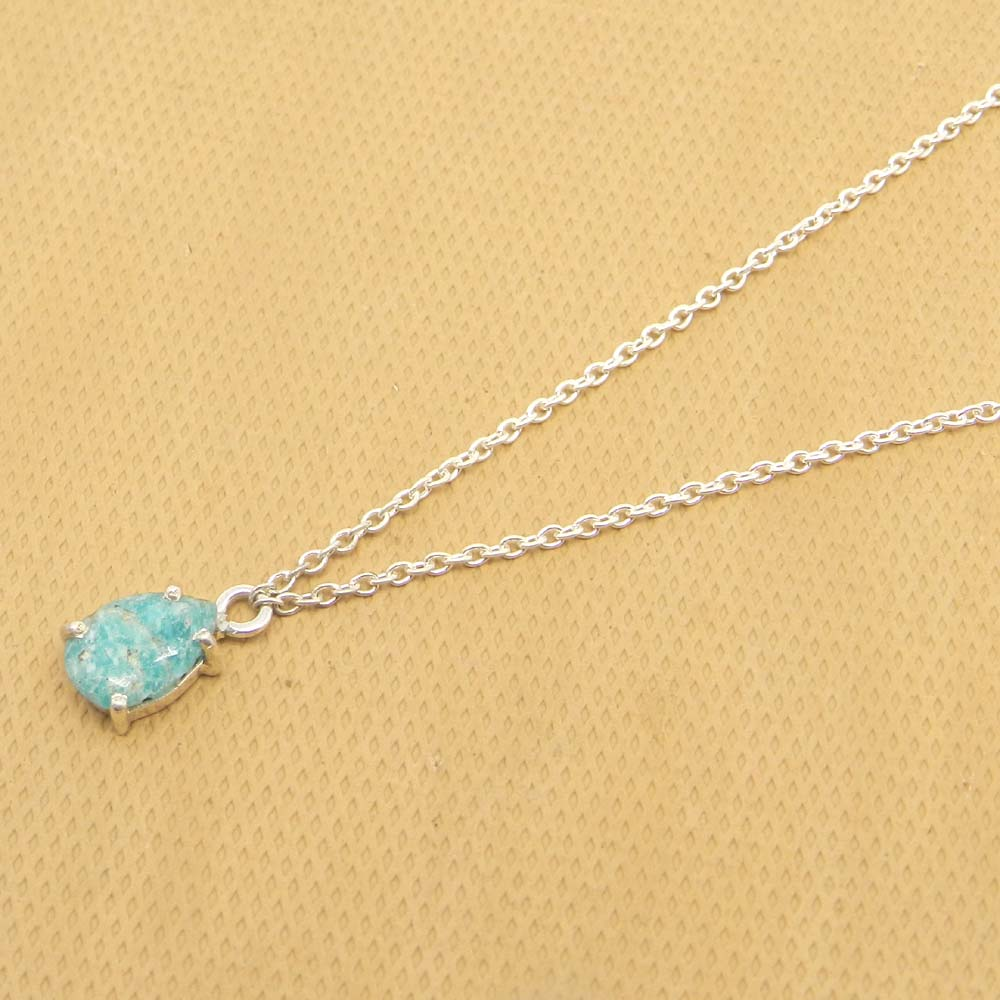 925 Sterling Silver Amazonite Pear Gemstone Chain Necklace