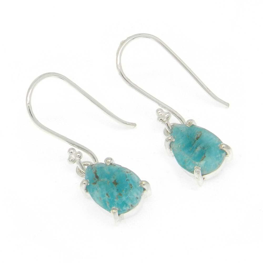 925 Sterling Silver Amazonite Pear Gemstone Dangle Earrings