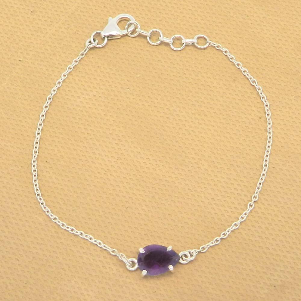 925 Sterling Silver Amethyst Pear Gemstone Chain Bracelet