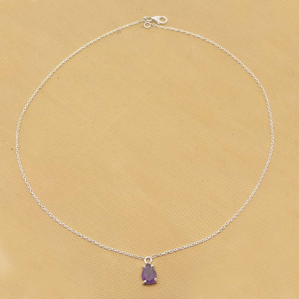 925 Sterling Silver Amethyst Pear Gemstone Chain Necklace