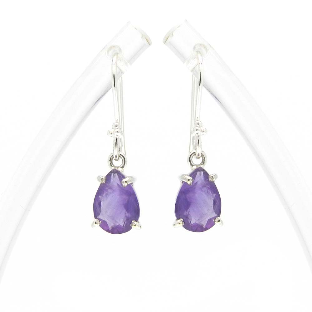 925 Sterling Silver Amethyst Pear Gemstone Dangle Earrings