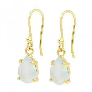 925 Sterling Silver Aqua Chalcedony Pear Gemstone Dangle Earrings